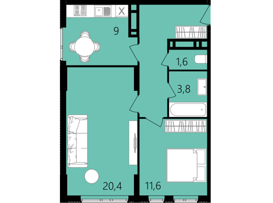 Планировка 2-комнатной квартиры в ЖК Лесопарковый 56 м², фото 234329