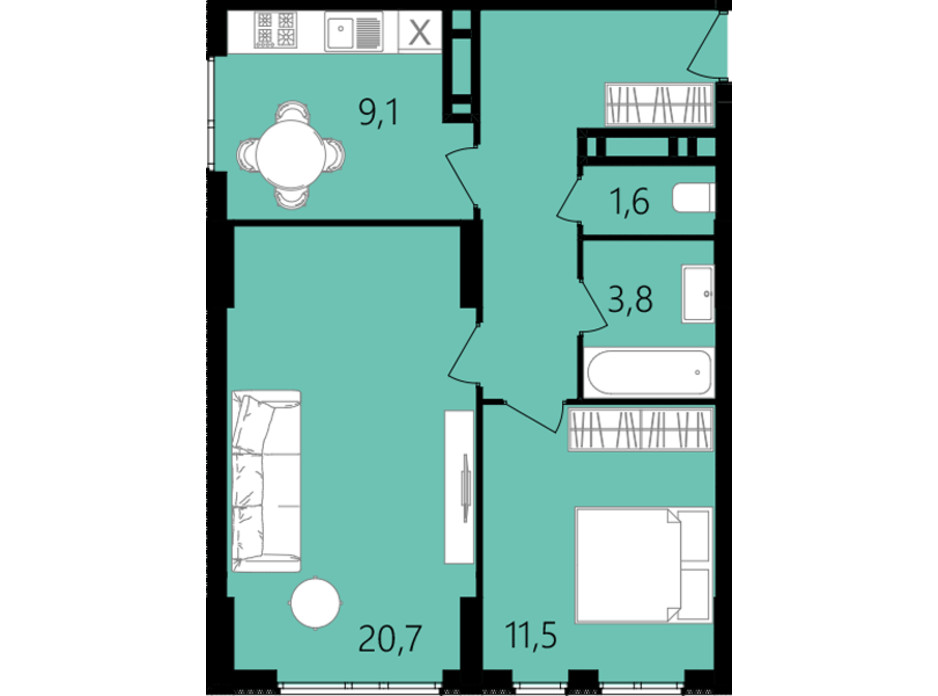 Планировка 2-комнатной квартиры в ЖК Лесопарковый 56.2 м², фото 234331