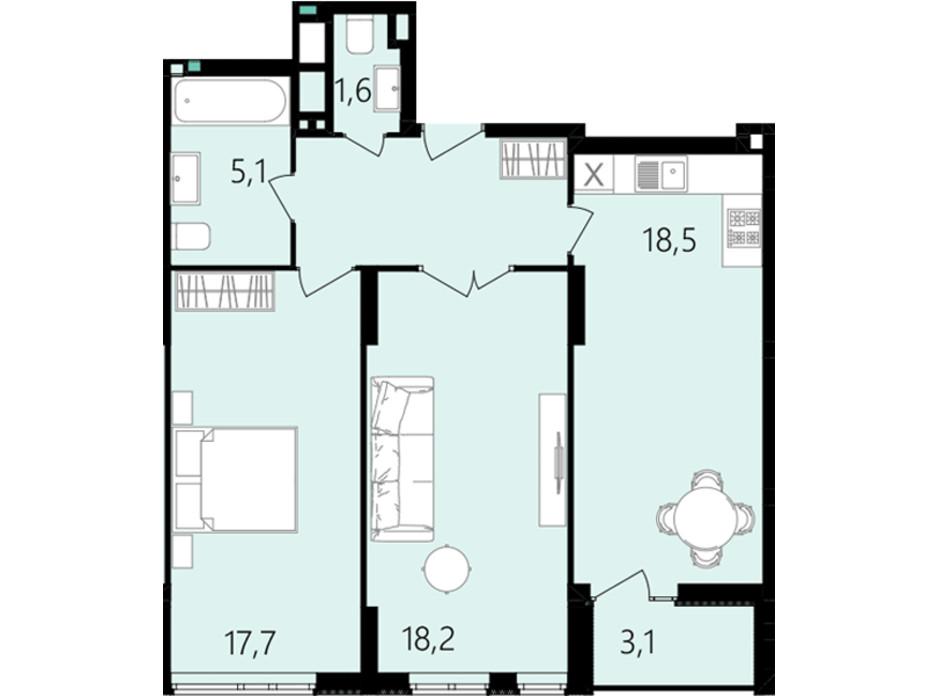Планировка 2-комнатной квартиры в ЖК Лесопарковый 71.7 м², фото 234338