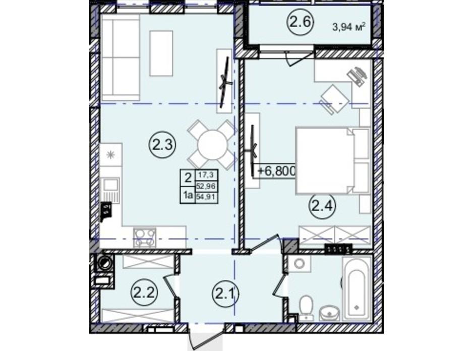 Планировка 1-комнатной квартиры в КД На Кондукторской 55 м², фото 234421