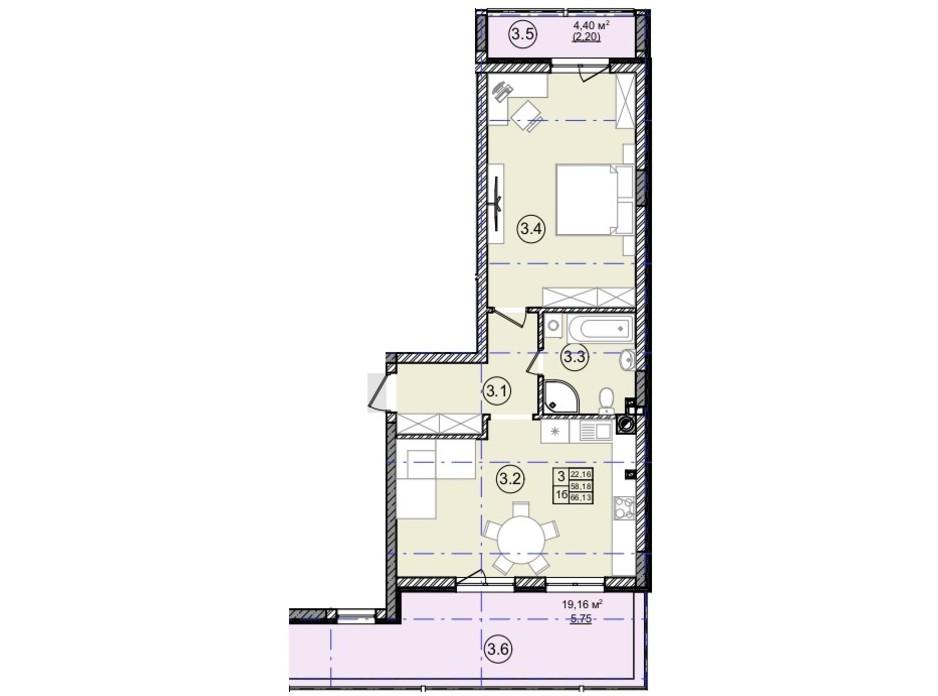 Планування 1-кімнатної квартири в КБ На Кондукторській 66 м², фото 234422