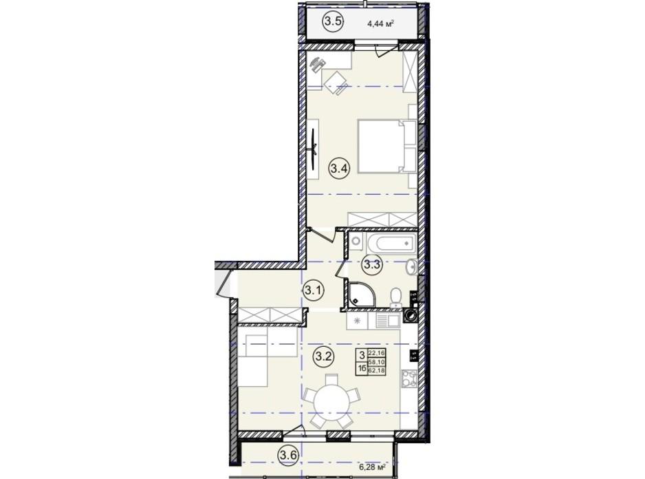 Планировка 1-комнатной квартиры в КД На Кондукторской 62 м², фото 234433