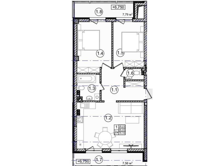 Планировка 2-комнатной квартиры в КД На Кондукторской 70 м², фото 234443