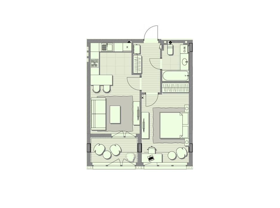 Планировка 1-комнатной квартиры в ЖК Luxberry lakes & forest 51.9 м², фото 234445