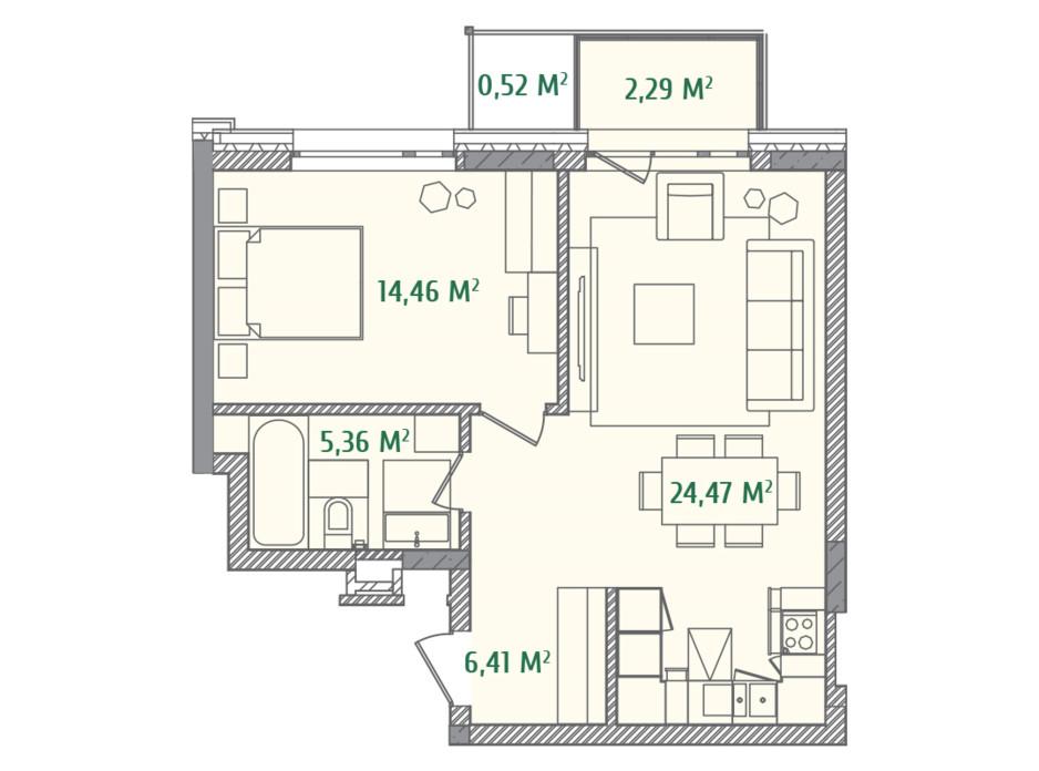 Планировка 1-комнатной квартиры в ЖК Illinsky House 53.87 м², фото 234557