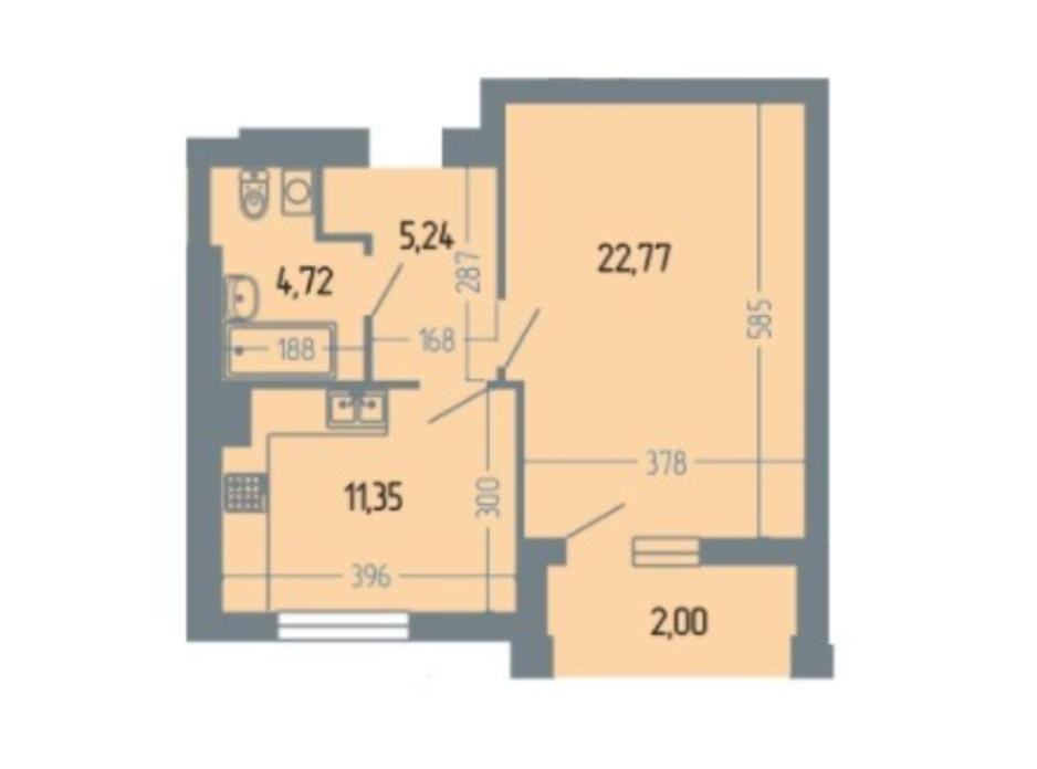 Планировка 1-комнатной квартиры в ЖК Версаль 51.2 м², фото 234929