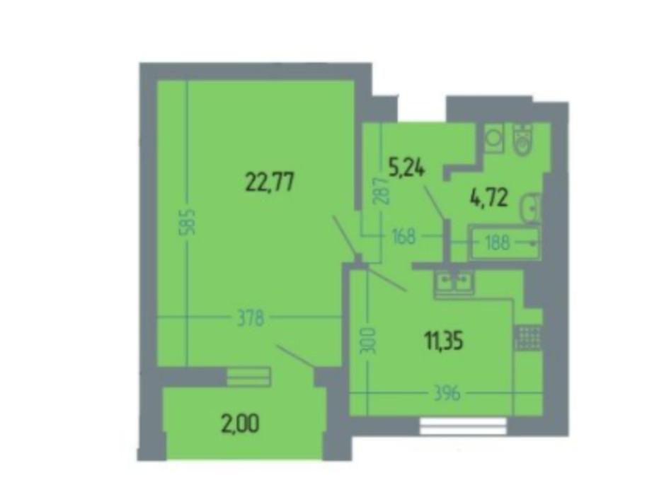 Планировка 1-комнатной квартиры в ЖК Версаль 46 м², фото 234930