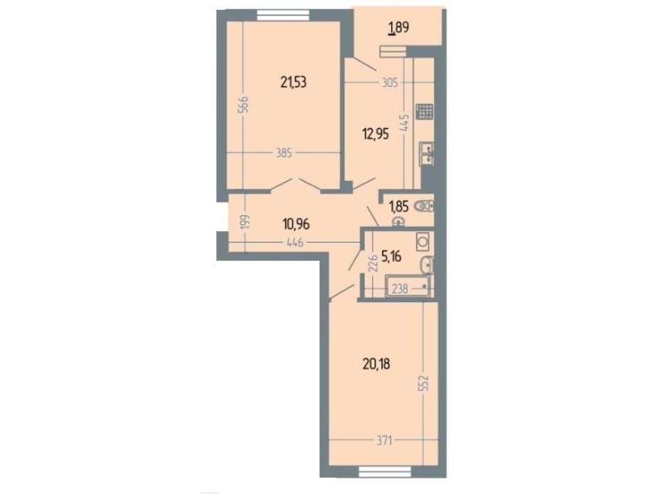 Планировка 2-комнатной квартиры в ЖК Версаль 75.1 м², фото 234933