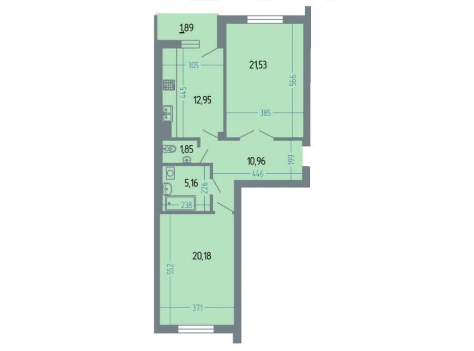 Планировка 2-комнатной квартиры в ЖК Версаль 76.2 м², фото 234934