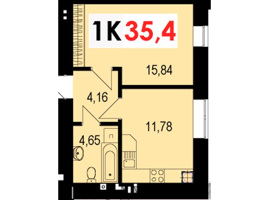 Планування 1-кімнатної квартири в ЖК Стожари 35.4 м², фото 235128