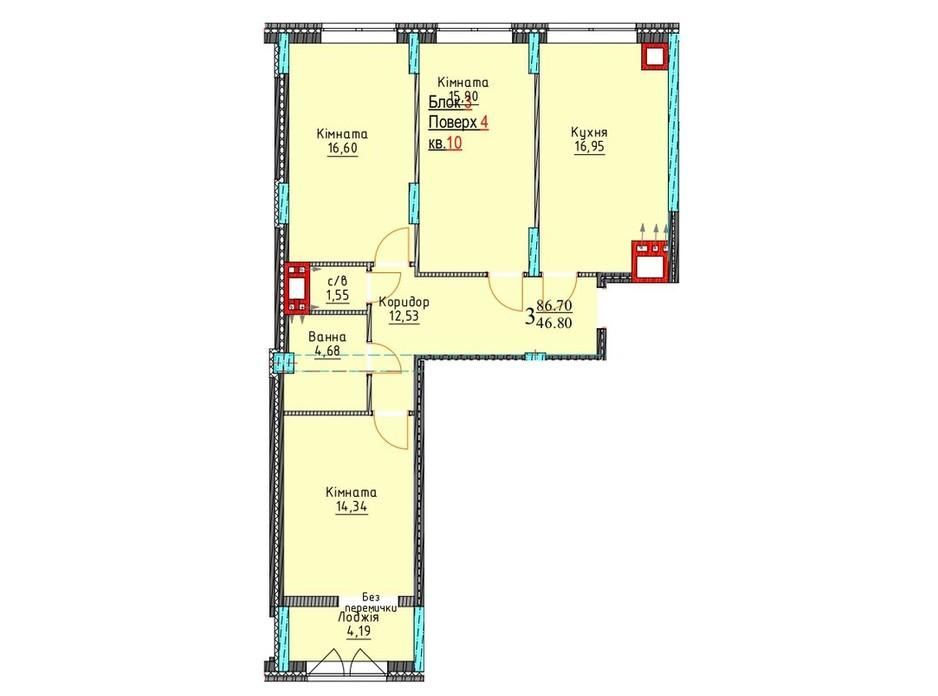 Планування 3-кімнатної квартири в ЖК Водограй 86.7 м², фото 235160