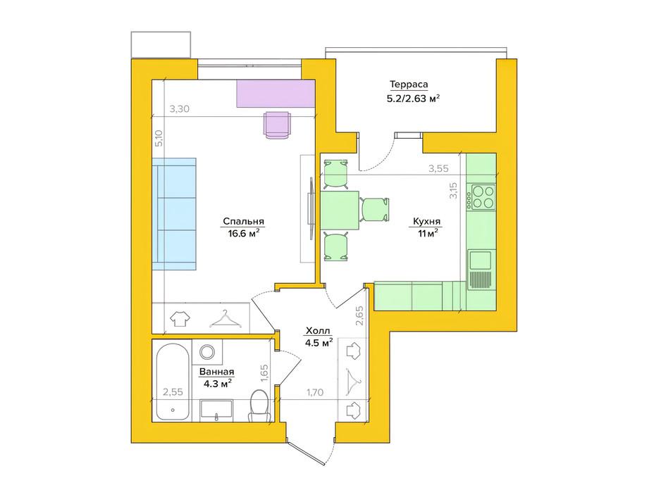 Планировка 1-комнатной квартиры в ЖК Vesna 38.62 м², фото 235493