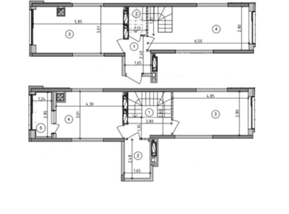 Планировка многоуровневой квартиры в ЖК Оптимісто 76.32 м², фото 235498