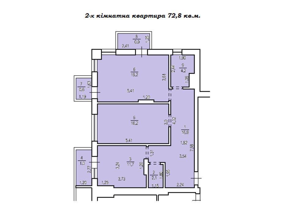Планировка 2-комнатной квартиры в КД Люксембург 72 м², фото 235507