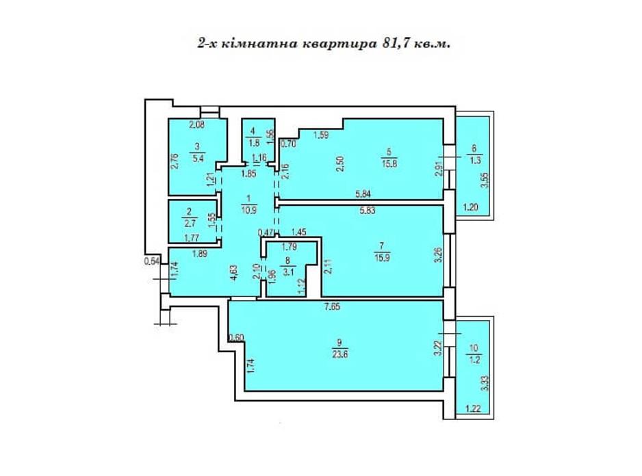 Планировка 2-комнатной квартиры в КД Люксембург 81.7 м², фото 235508