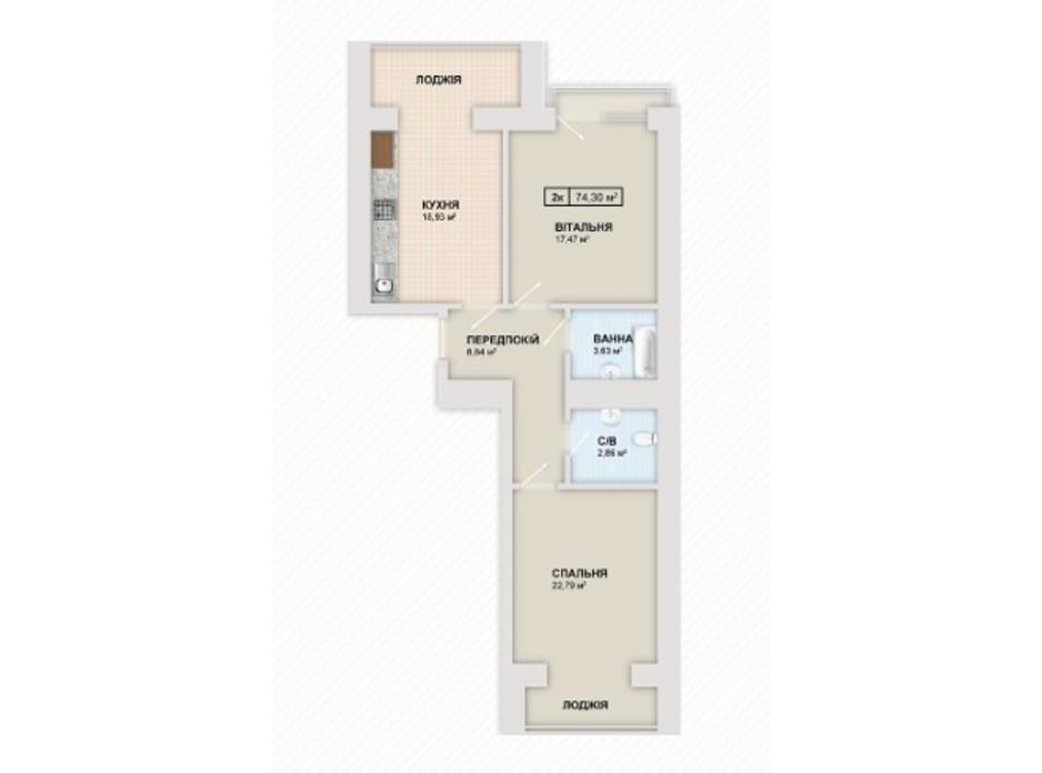 Планировка 2-комнатной квартиры в ЖК Містечко Козацьке 74.3 м², фото 235524
