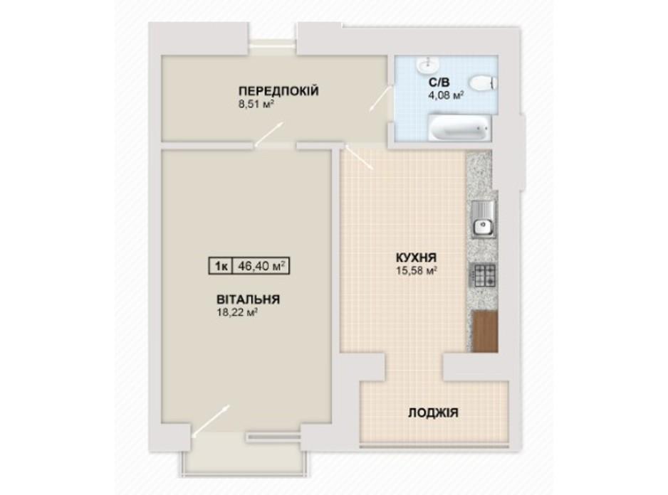 Планировка 1-комнатной квартиры в ЖК Містечко Козацьке 46.4 м², фото 235527