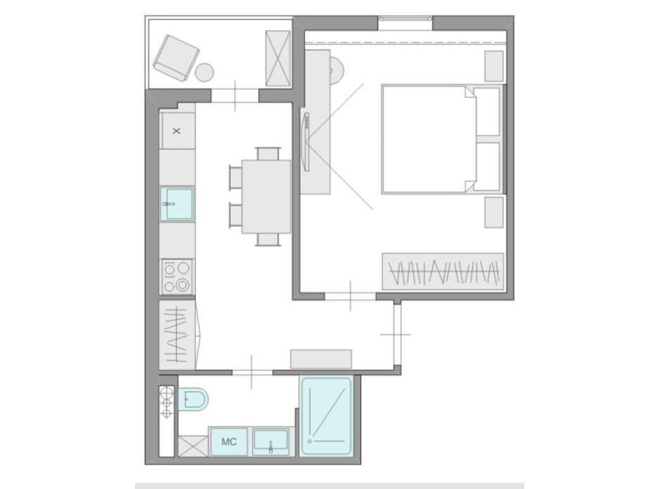 Планировка 1-комнатной квартиры в ЖК Ясный 31.1 м², фото 235652