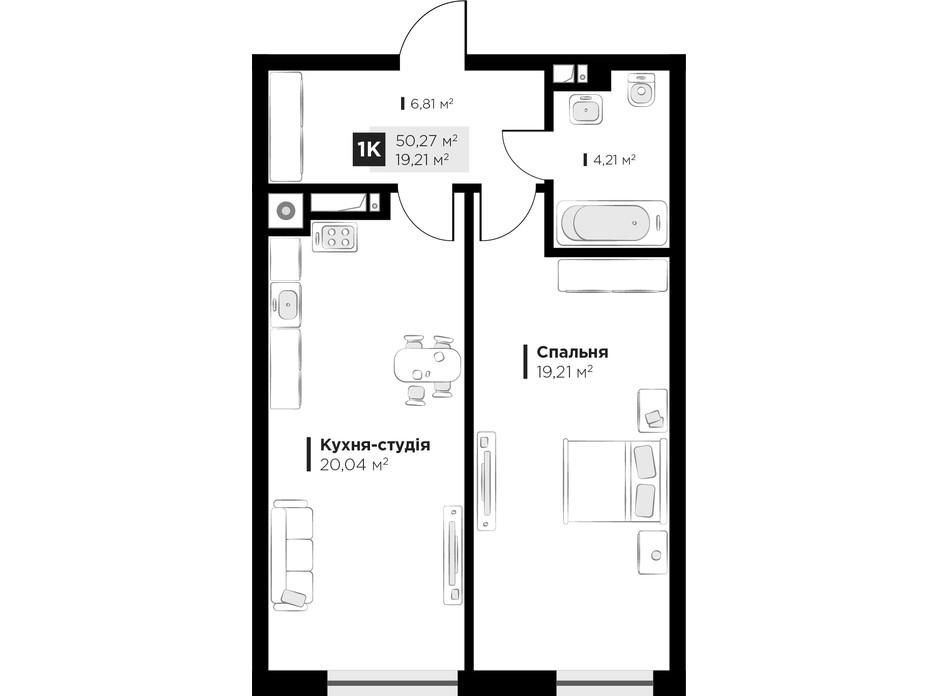 Планировка 1-комнатной квартиры в ЖК ARTHOUSE park 50.27 м², фото 235675