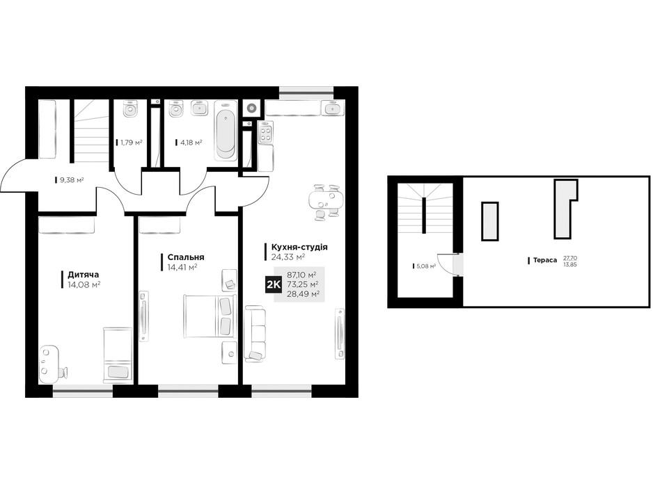 Планування 2-кімнатної квартири в ЖК ARTHOUSE park 87.1 м², фото 235688