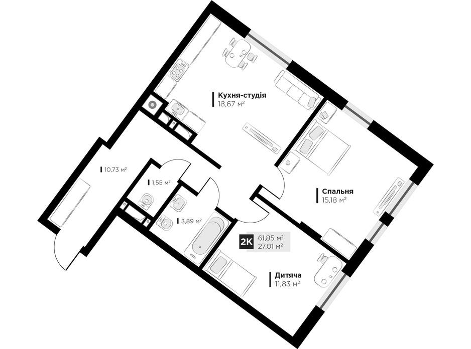 Планировка 2-комнатной квартиры в ЖК ARTHOUSE park 61.85 м², фото 235730