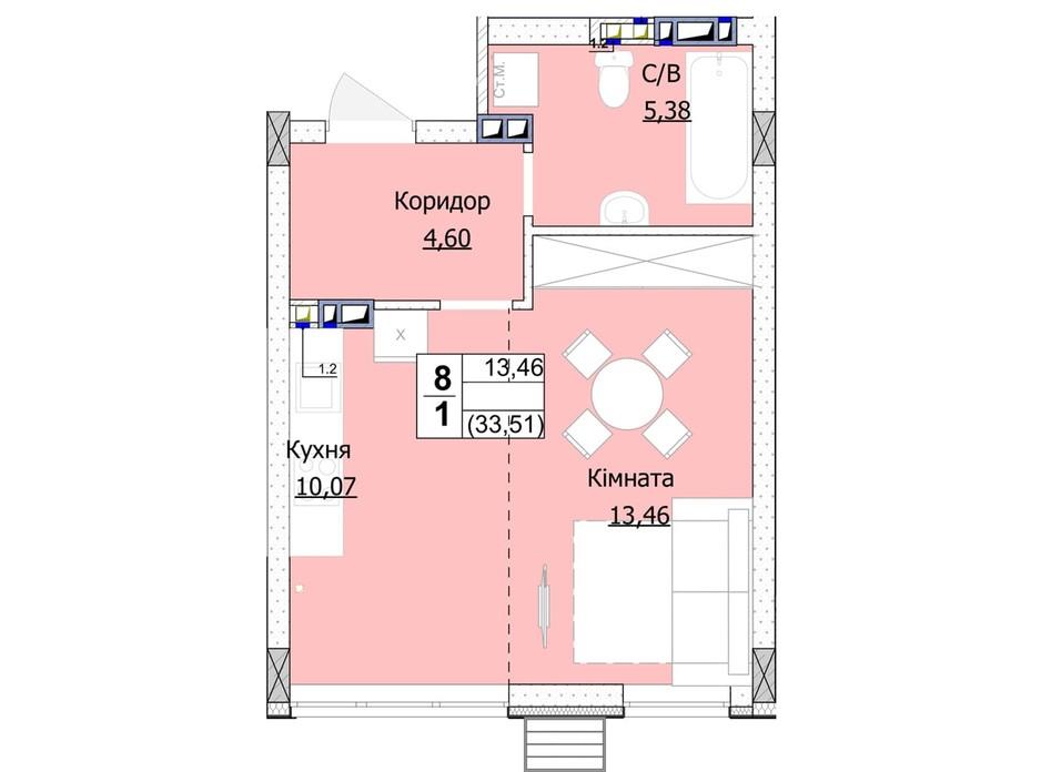 Планування 1-кімнатної квартири в ЖК Гостомель Сіті 34 м², фото 235740
