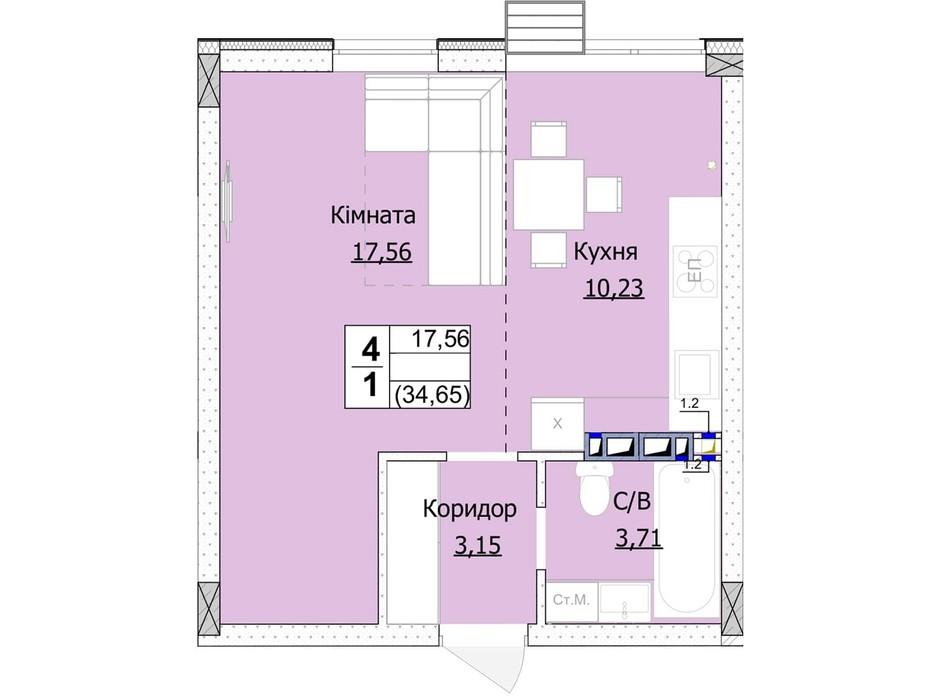 Планування 1-кімнатної квартири в ЖК Гостомель Сіті 35 м², фото 235743