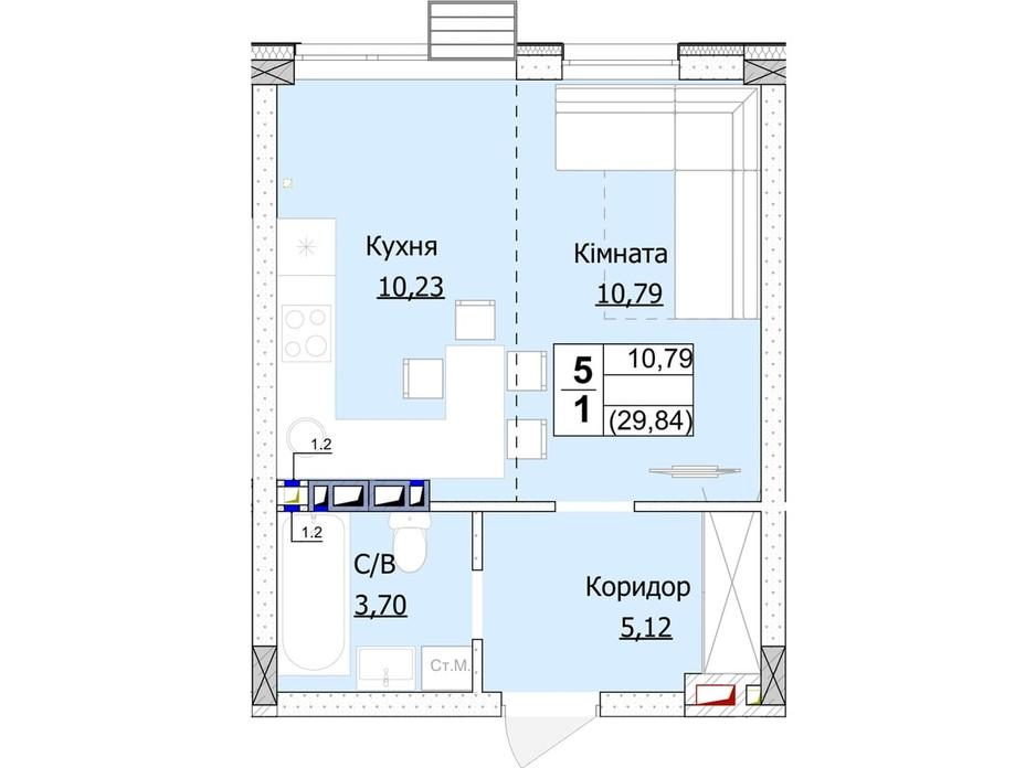 Планування 1-кімнатної квартири в ЖК Гостомель Сіті 30 м², фото 235745