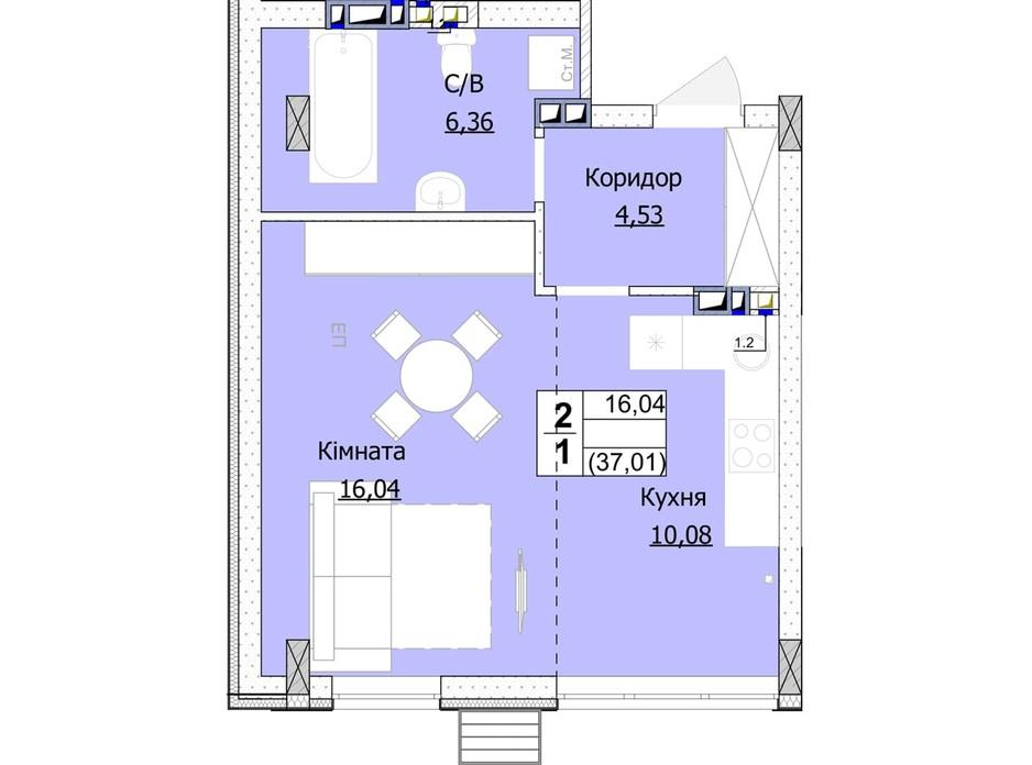 Планування 1-кімнатної квартири в ЖК Гостомель Сіті 37 м², фото 235747