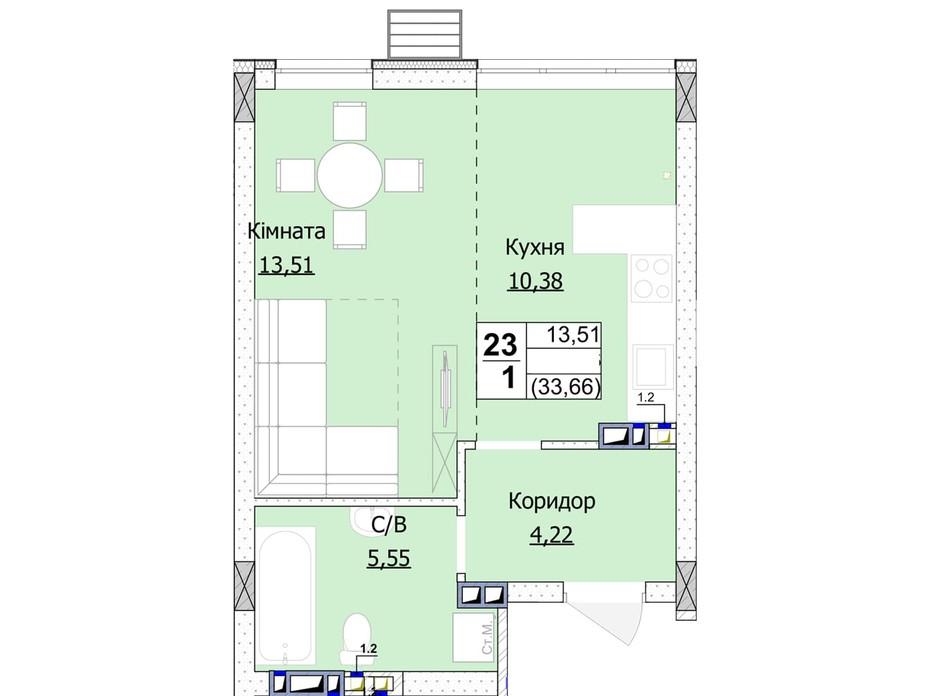 Планування 1-кімнатної квартири в ЖК Гостомель Сіті 34 м², фото 235748