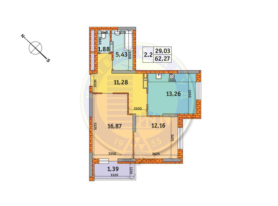 Планировка 2-комнатной квартиры в ЖК Обериг-2 62.27 м², фото 235769