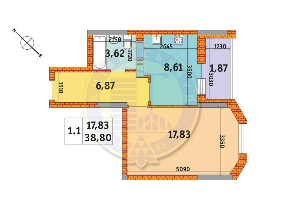 Планування 1-кімнатної квартири в ЖК Оберіг-2 38.8 м², фото 235772