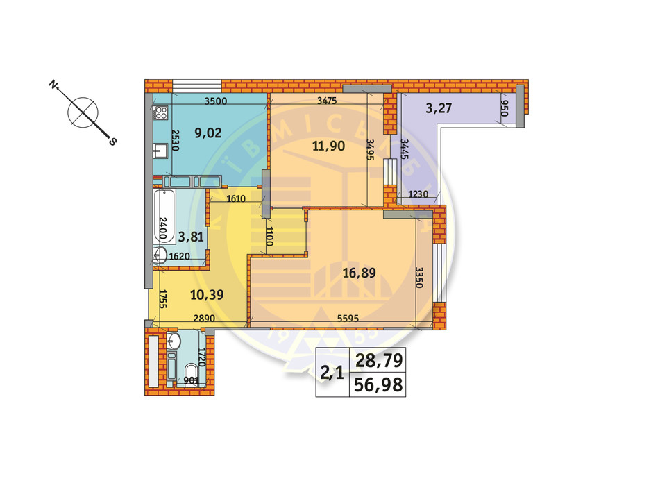 Планировка 2-комнатной квартиры в ЖК Обериг-2 56.98 м², фото 235773