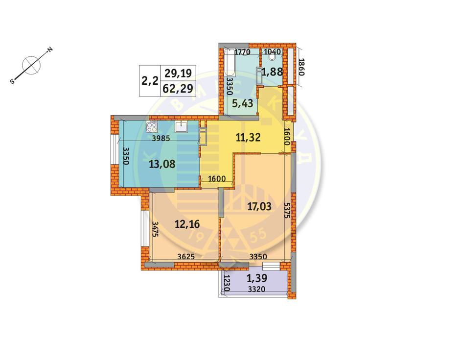 Планировка 2-комнатной квартиры в ЖК Обериг-2 62.29 м², фото 235838