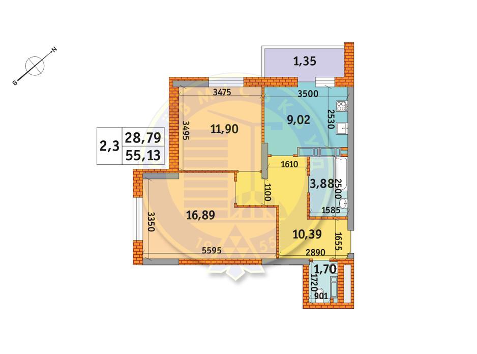 Планировка 2-комнатной квартиры в ЖК Обериг-2 55.13 м², фото 235839