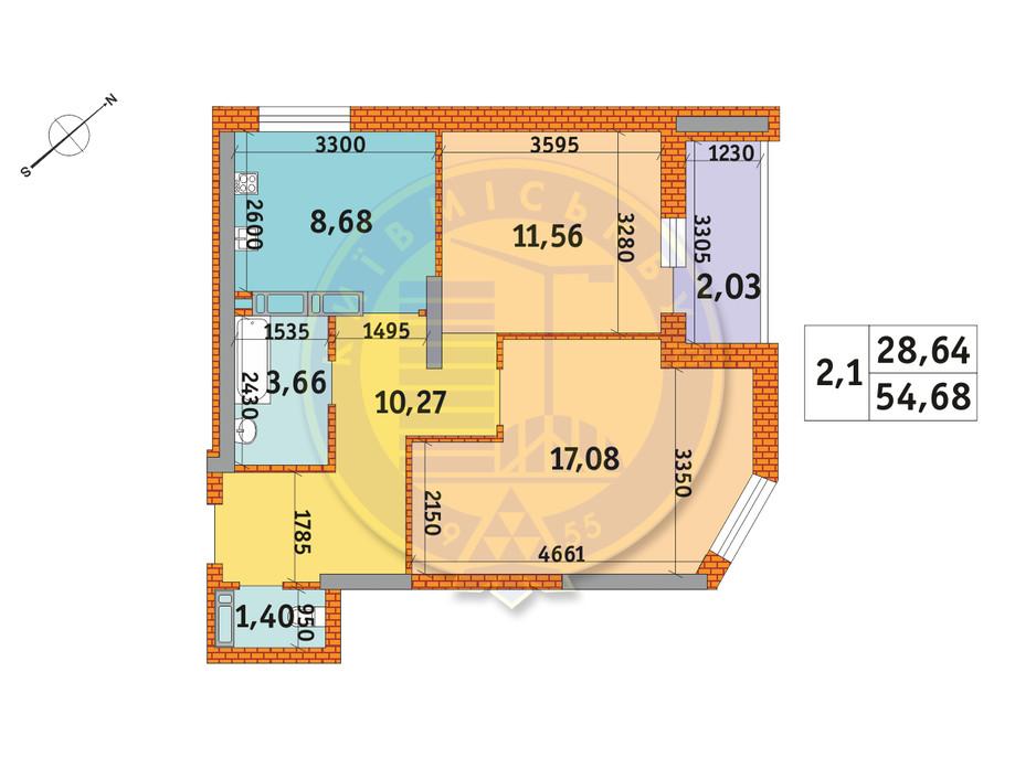 Планировка 2-комнатной квартиры в ЖК Обериг-2 54.68 м², фото 235840