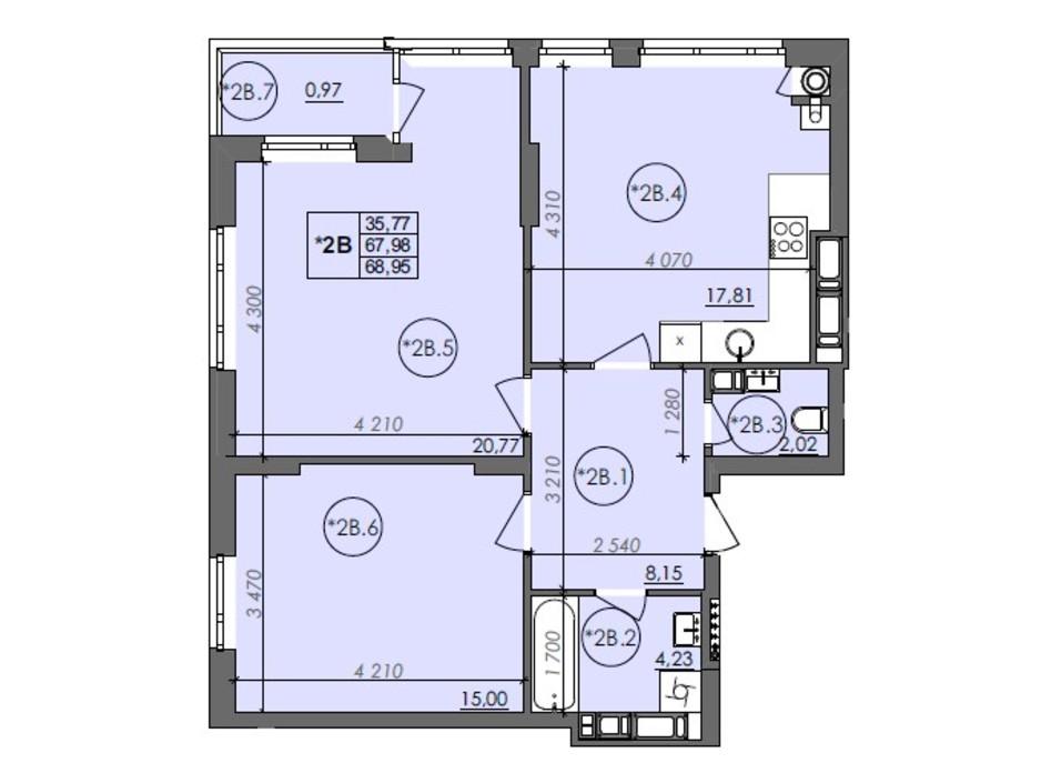Планування 2-кімнатної квартири в ЖК Panorama 68.95 м², фото 235997