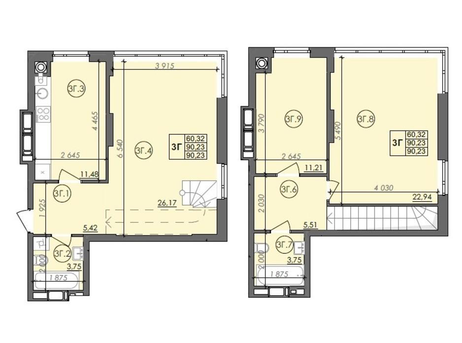 Планування багаторівневої квартири в ЖК Panorama 90.23 м², фото 236001