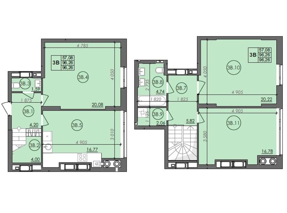 Планировка многоуровневой квартиры в ЖК Panorama 96.26 м², фото 236002
