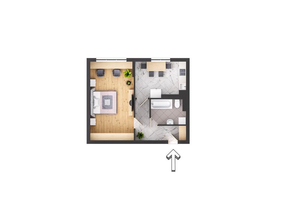 Планировка 1-комнатной квартиры в ЖК Garant City 49.7 м², фото 236070