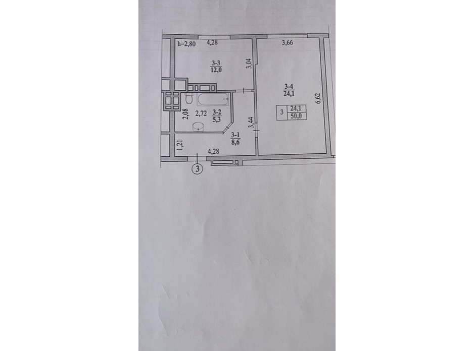 Планировка 1-комнатной квартиры в ЖК Garant City 49.77 м², фото 236072