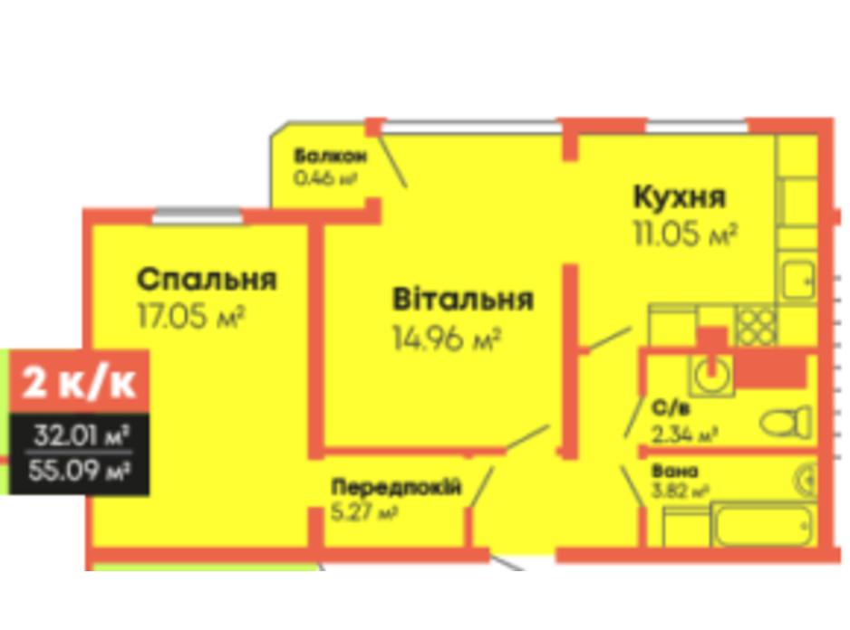 Планировка 2-комнатной квартиры в ЖК Гражданский посад 55.09 м², фото 236101