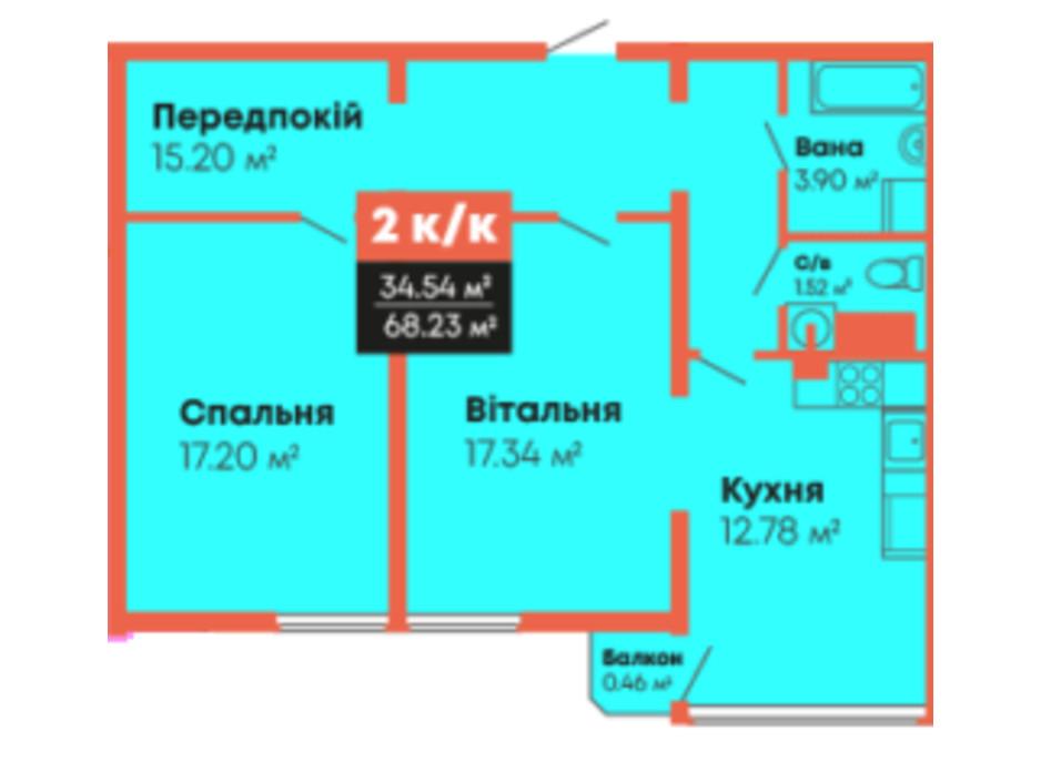Планировка 2-комнатной квартиры в ЖК Гражданский посад 68.23 м², фото 236102
