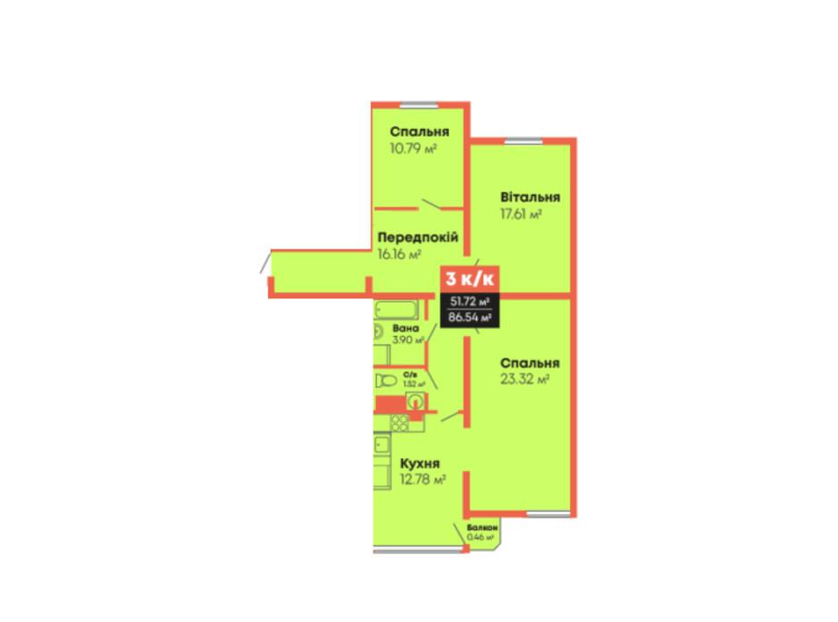 Планировка 3-комнатной квартиры в ЖК Гражданский посад 86.54 м², фото 236104