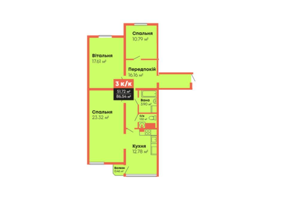 Планировка 3-комнатной квартиры в ЖК Гражданский посад 86.54 м², фото 236105