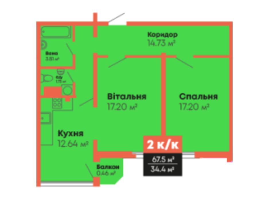 Планування 2-кімнатної квартири в ЖК Громадянський посад 67.5 м², фото 236107