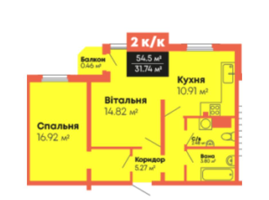 Планування приміщення в ЖК Громадянський посад 54.5 м², фото 236108