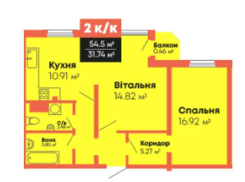Планування 2-кімнатної квартири в ЖК Громадянський посад 54.5 м², фото 236109