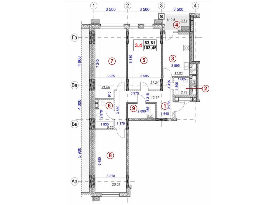 Планировка 3-комнатной квартиры в ЖК Ярославов Град 103.45 м², фото 236297