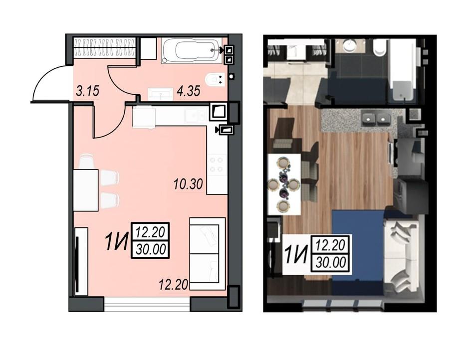 Планировка смарт квартиры в ЖК Sunrise City 29.92 м², фото 236310